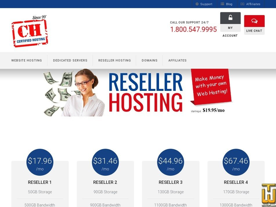 Screenshot of Reseller 3 from certifiedhosting.com