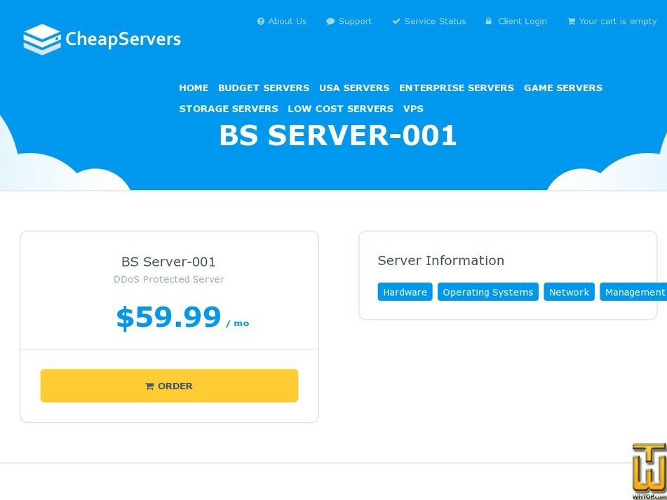 Screenshot of BS Server-001 from cheapservers.us