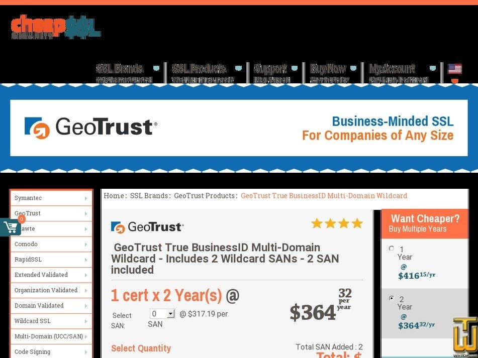 Geotrust True Businessid Multi Domain Wildcard Ssl 62768