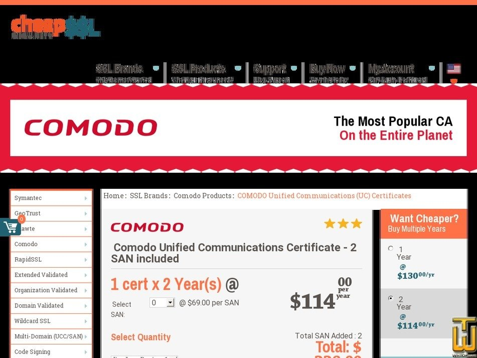 Comodo Domain Validated UCC SSL Certificate, #62566