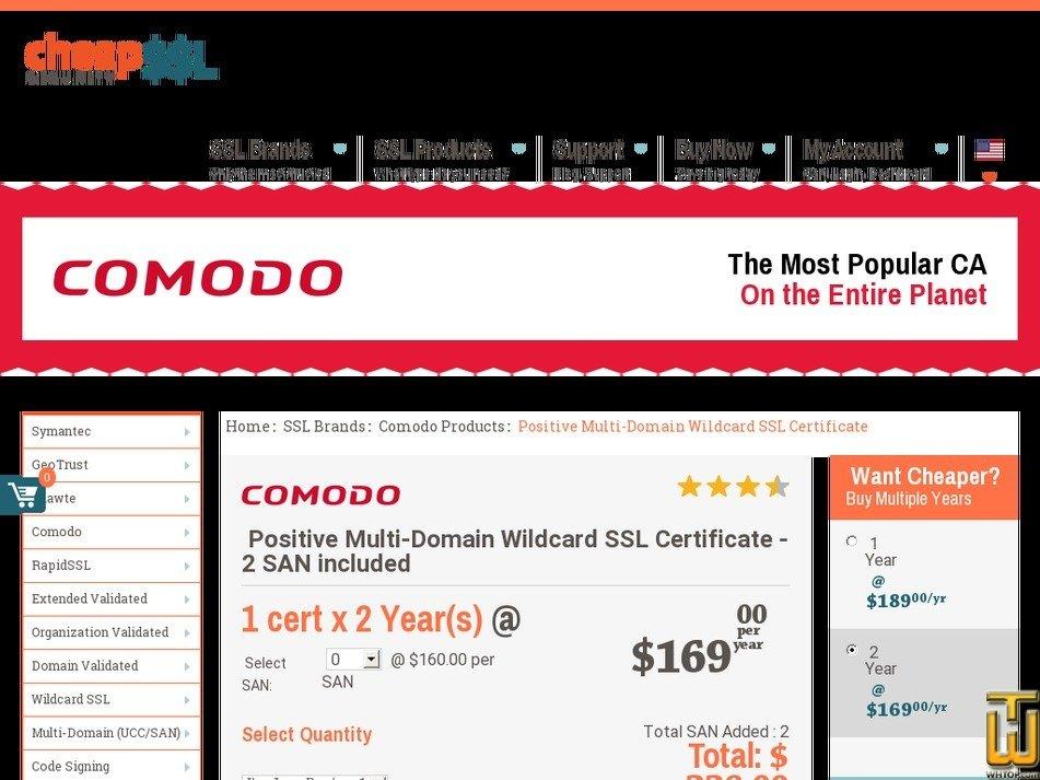 Comodo Positivessl Multi Domain Wildcard 61998 Usd 15300yr