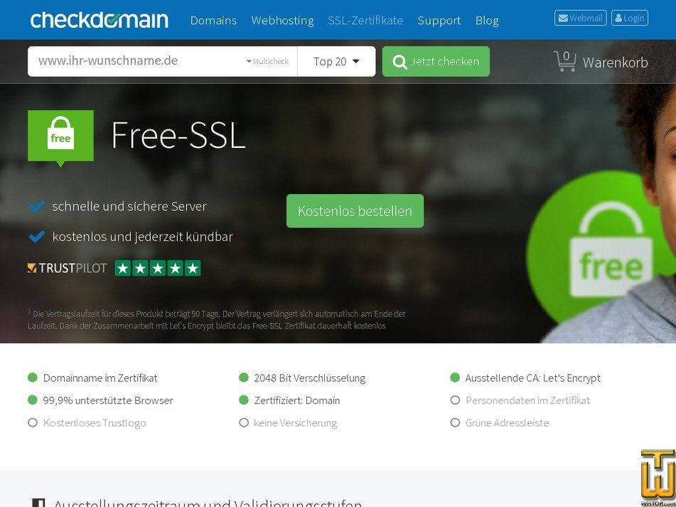 Free SSL from checkdomain.de, EUR 0.00/mo. on SSL Certificates,