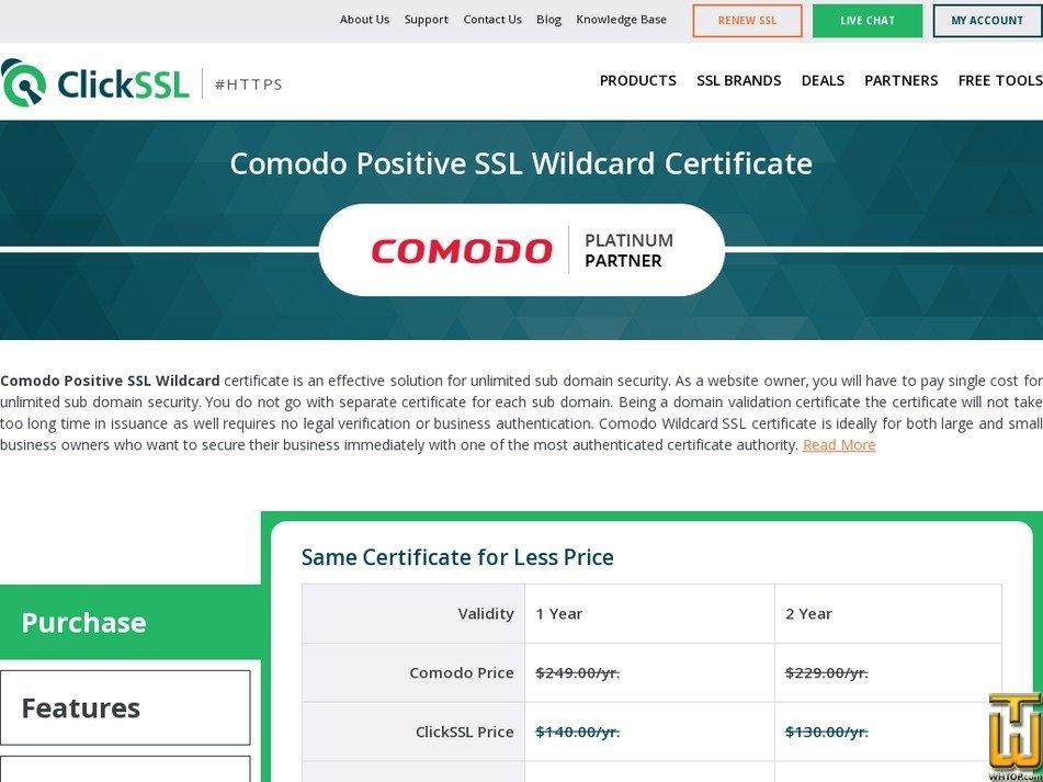 screenshot of Comodo Positive SSL Wildcard Certificate from clickssl.net