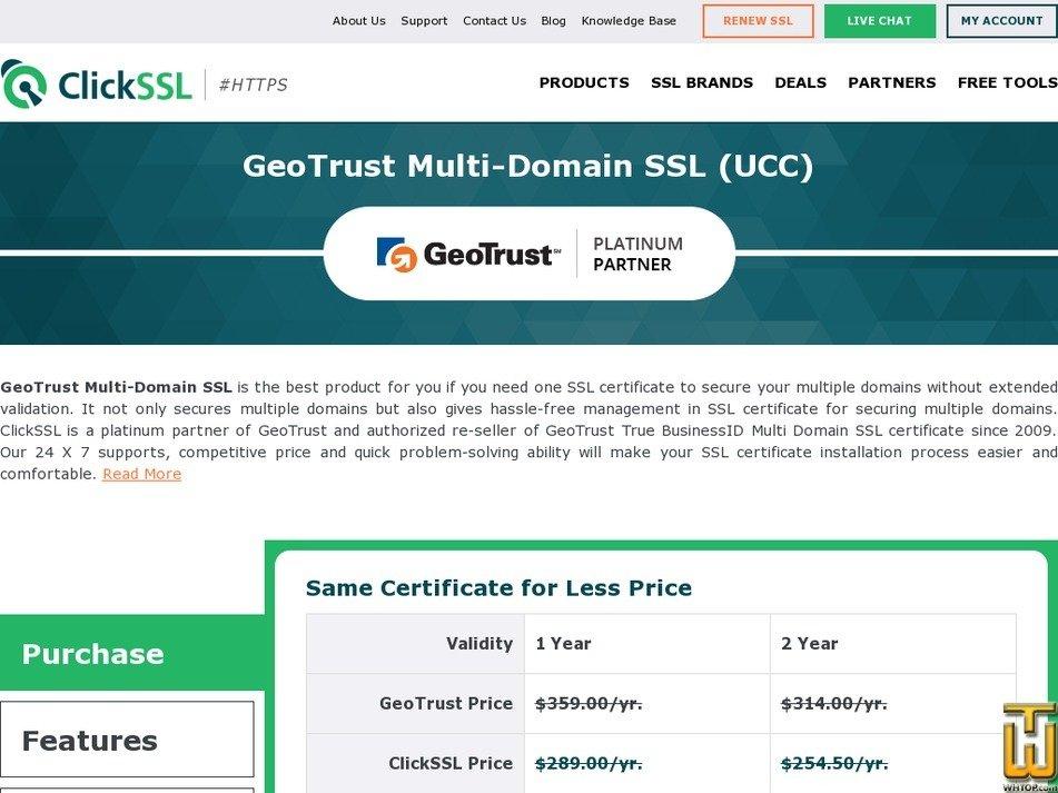 screenshot of GeoTrust Multi Domain SSL (UCC) from clickssl.net