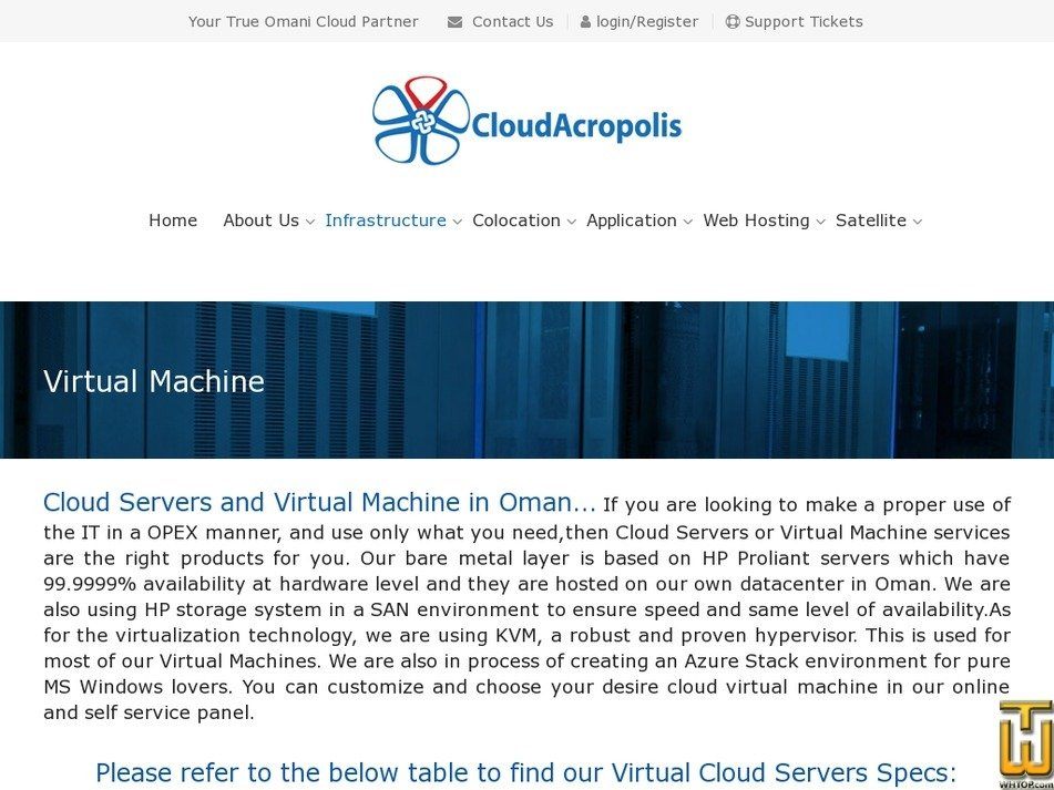 Screenshot of Virtual Cloud Server from cloudacropolis.com
