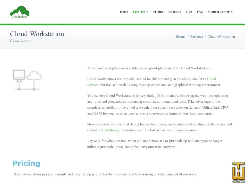 Screenshot of Cloud Workstation 4GB from cloudbalkan.com