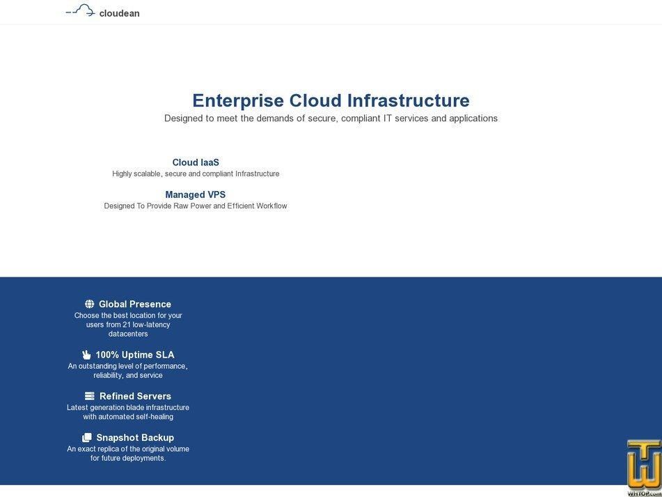 Screenshot of Cloud IaaS from cloudean.com