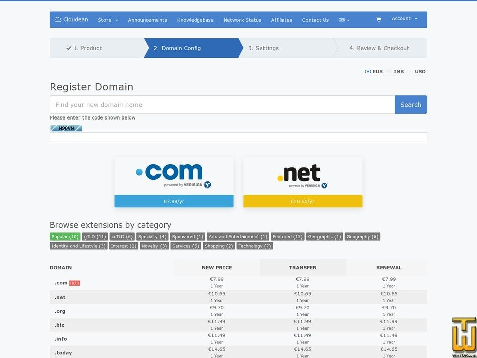 screenshot of .com from cloudean.com
