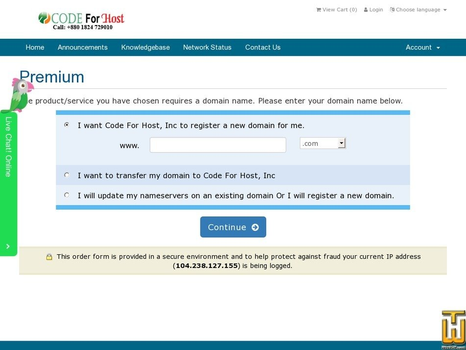 Screenshot of Premium from codeforhost.com