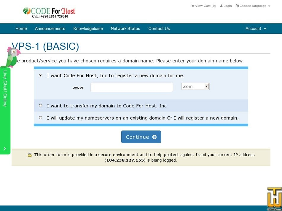Screenshot of VPS-1 (BASIC) from codeforhost.com