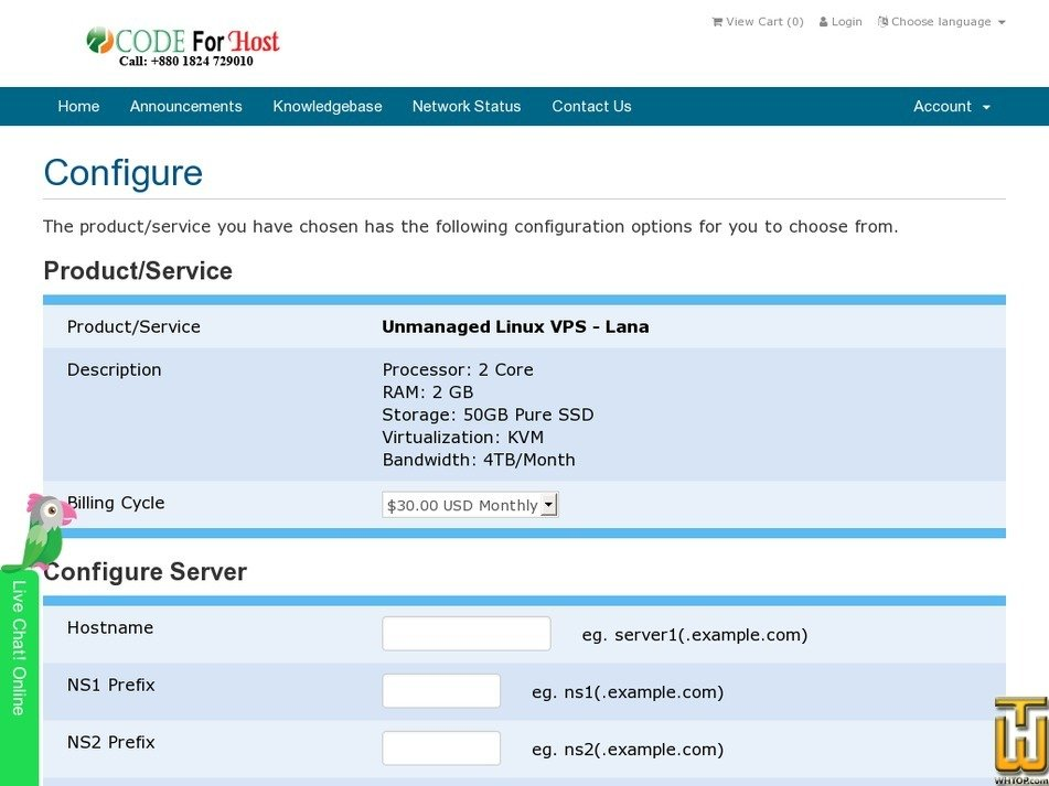 Screenshot of Lana from codeforhost.com