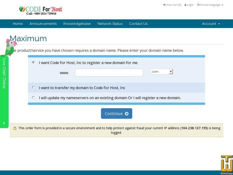 Screenshot of Maximum from codeforhost.com