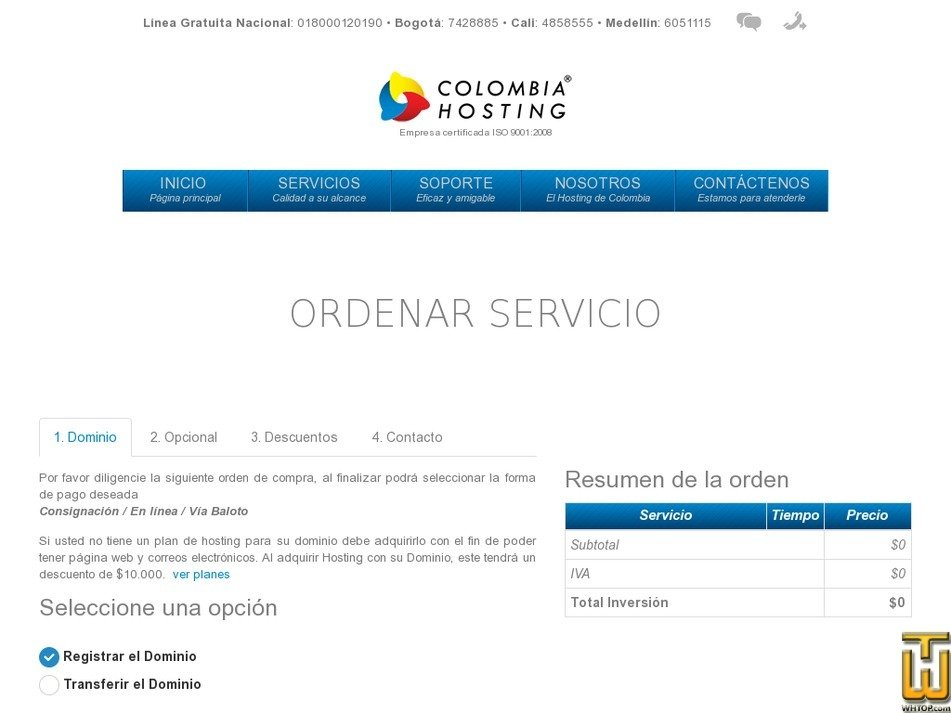 screenshot of .com .org .net .info .biz .us from colombiahosting.com.co