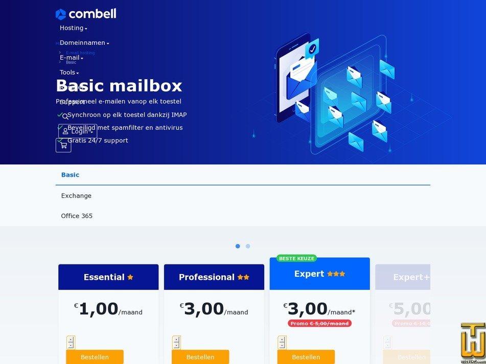screenshot of Expert from combell.com