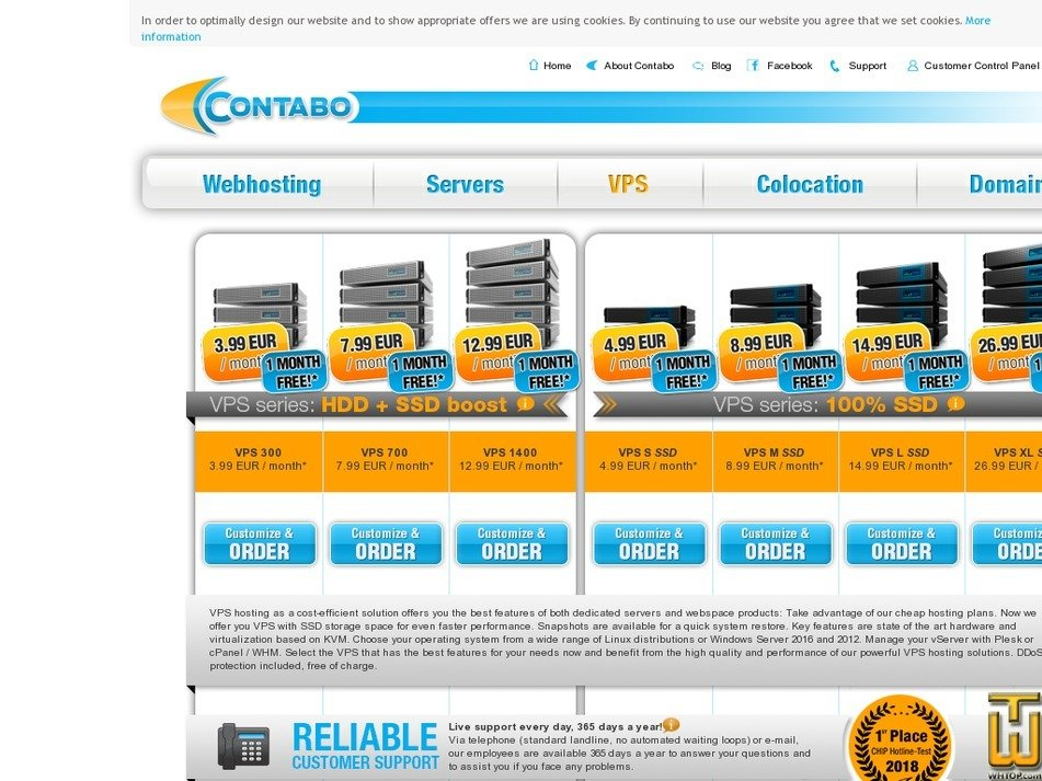 screenshot of VPS S SSD from contabo.com