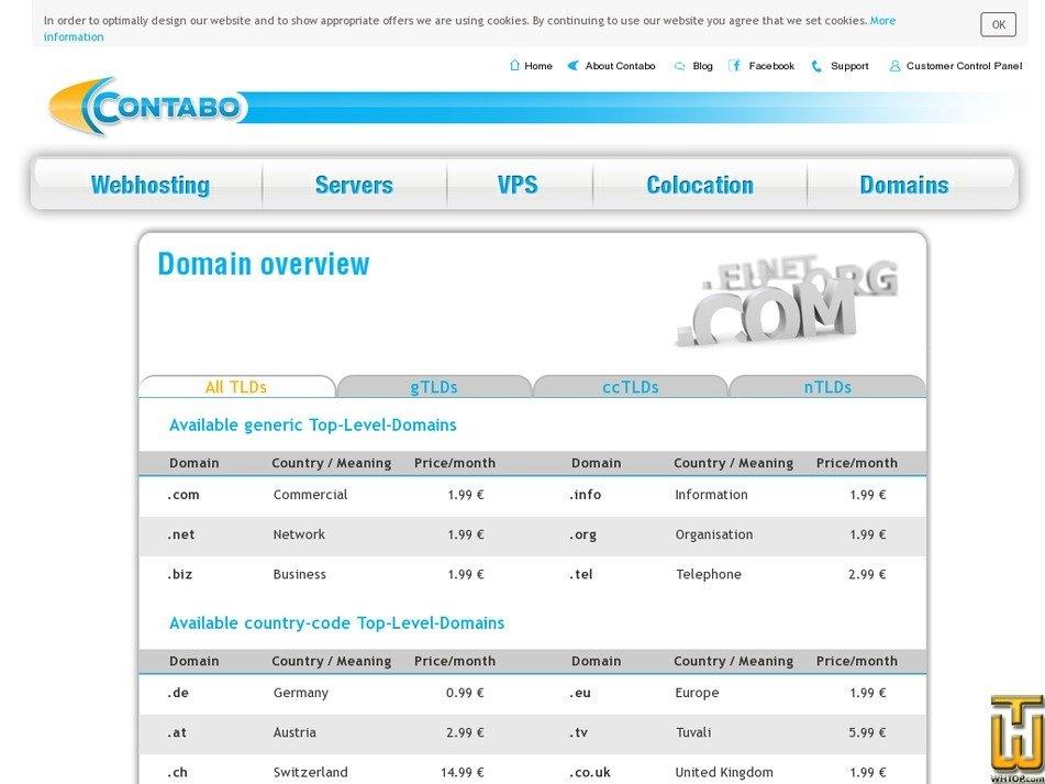 Screenshot of .com from contabo.com