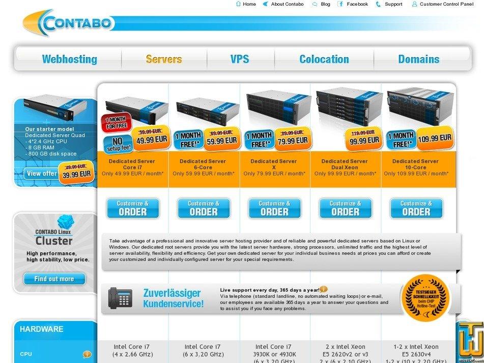 Screenshot of Dedicated Server 6-Core from contabo.com