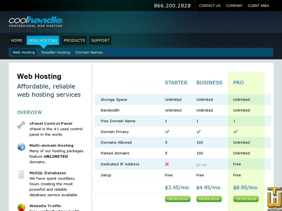 Screenshot of Business from coolhandle.com