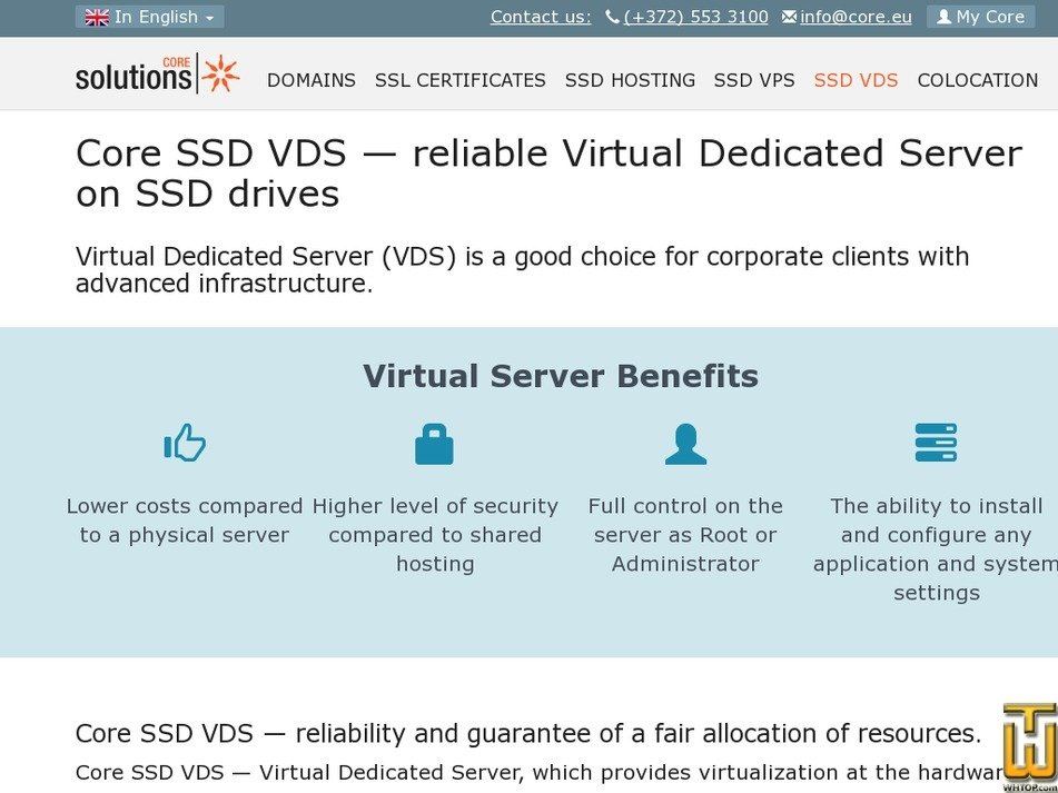 Screenshot of CORE SSD VDS-2 from core.eu