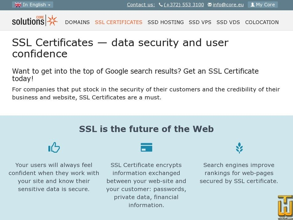 Screenshot of SSL Certificates from core.eu