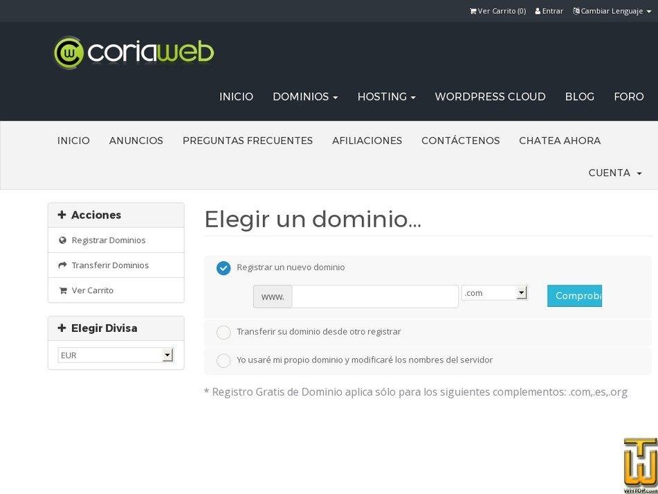Screenshot of HOSTING BÁSICO SSD from coriaweb.hosting