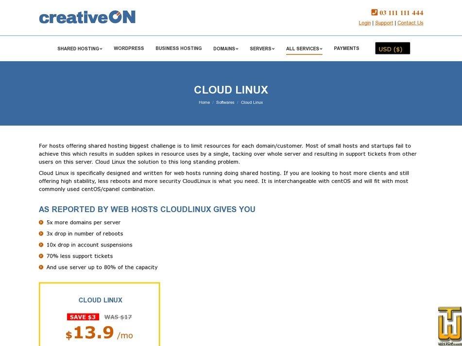 screenshot of CLOUD LINUX from creativeon.com