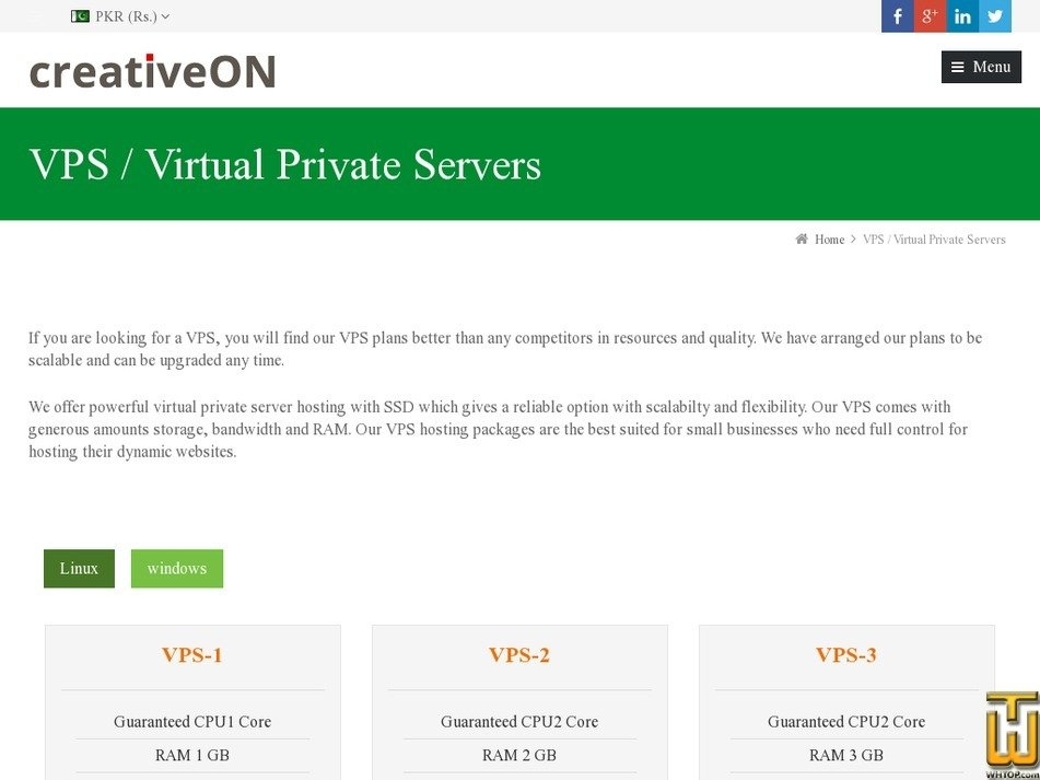Screenshot of VPS-2 from creativeon.com