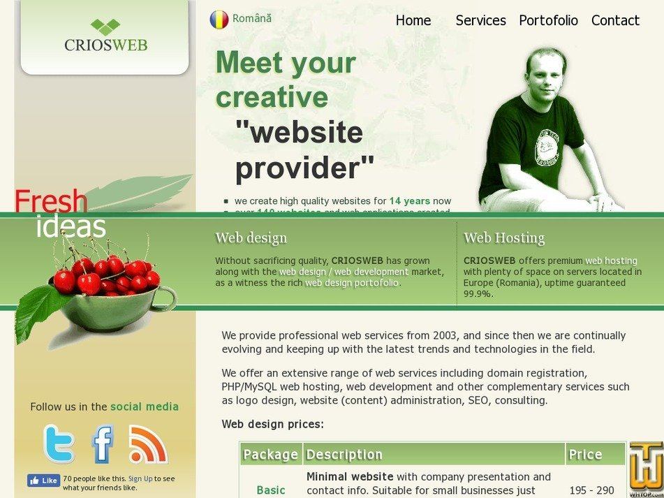 screenshot of Basic Website from criosweb.ro