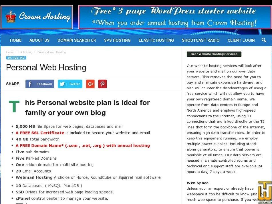 Screenshot of Wordpress Hosting from crownhosting.co.uk