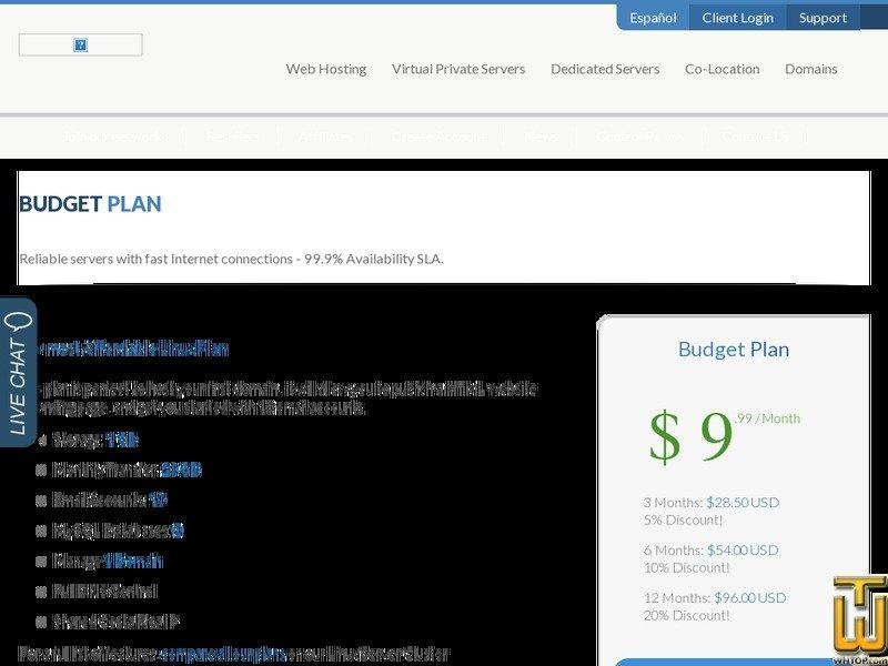 screenshot di Shared Hosting Budget a partire dal crservers.com
