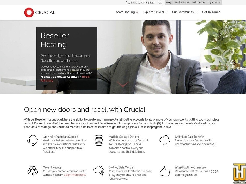 screenshot of Reseller-Hosting from crucial.com.au