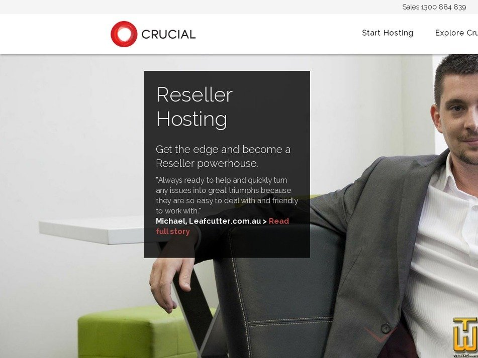 Screenshot of Reseller-Hosting from crucial.com.au