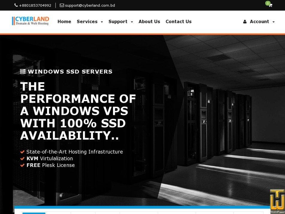 Screenshot of WINDOWS SSD KVM/XEN SERVERS from cyberland.com.bd