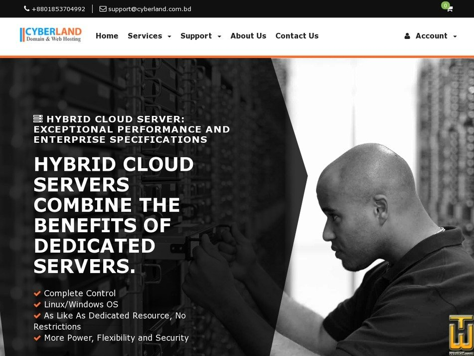 Screenshot of HYBRID CLOUD SERVER from cyberland.com.bd