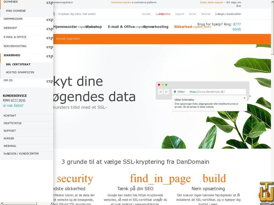 screenshot of Premium SSL from dandomain.dk