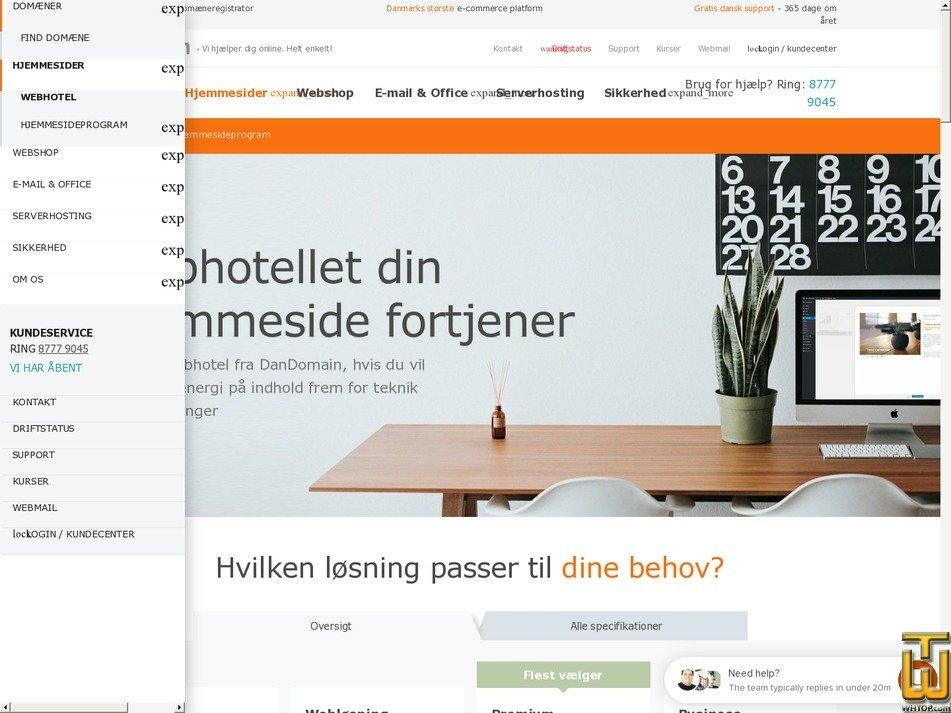 screenshot of Business from dandomain.dk