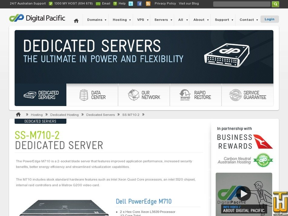 Screenshot of Dedicated Dell PowerEdge SS-M710-2 from digitalpacific.com.au