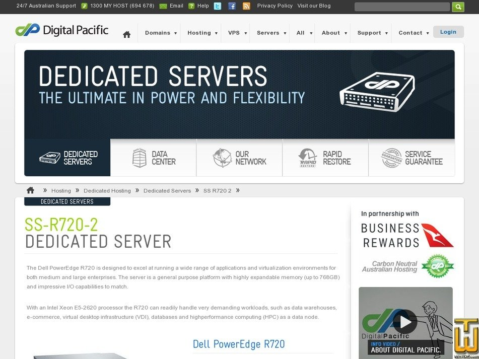 Screenshot of Dedicated Dell PowerEdge SS-R720-2 from digitalpacific.com.au