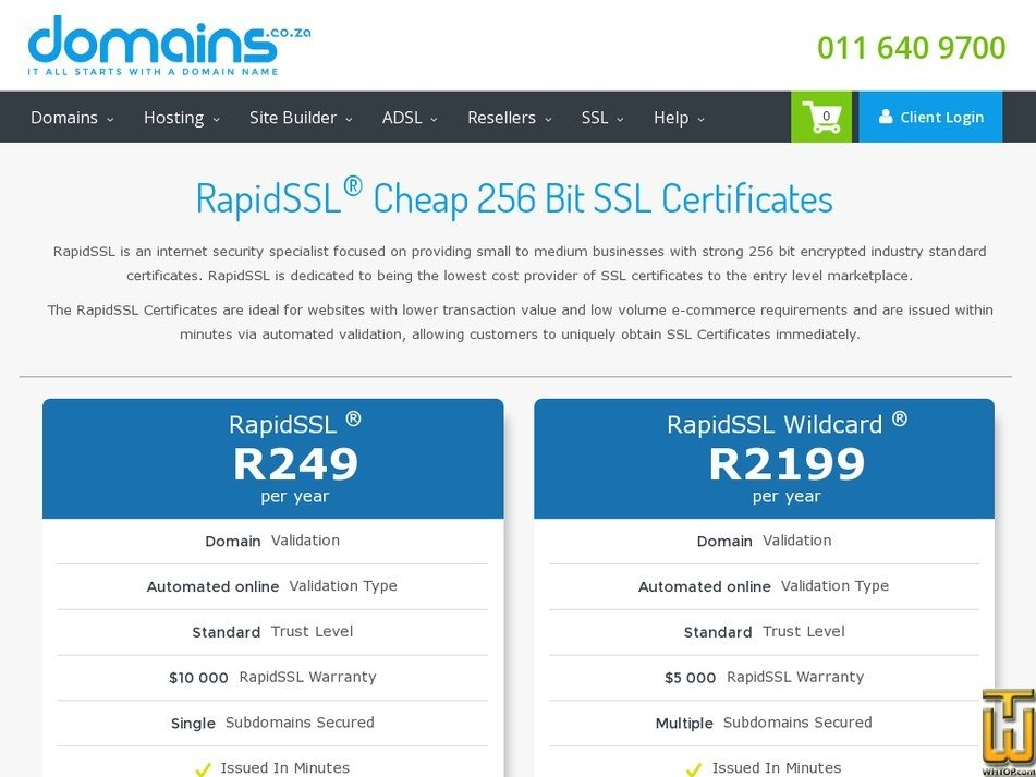 Screenshot of RapidSSL from domains.co.za