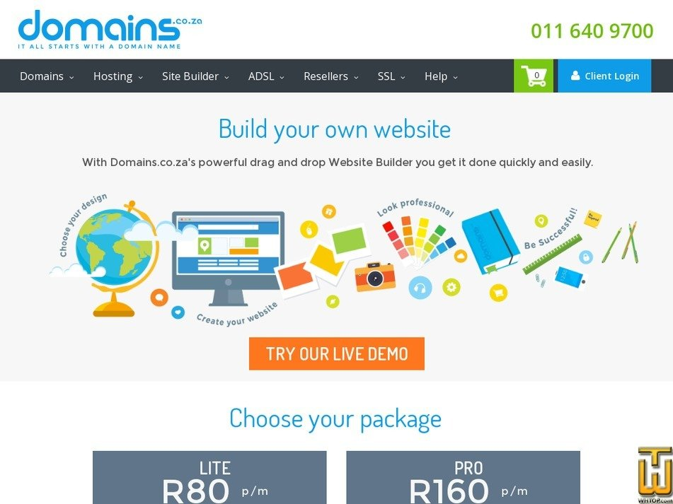 Screenshot of Lite from domains.co.za