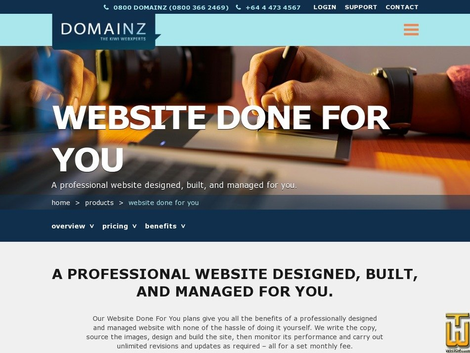 Screenshot of WEBSITE DONE FOR YOU from domainz.net.nz