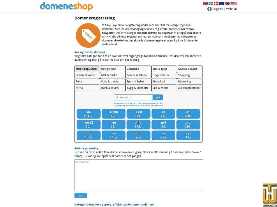 screenshot of .com from domene.shop