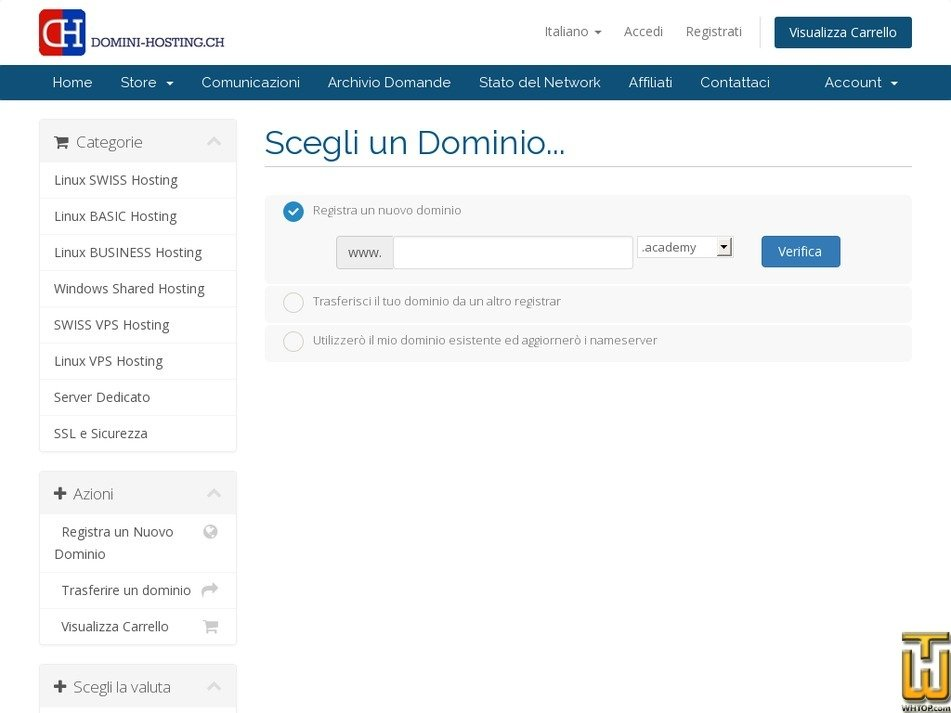 Screenshot of cPanel SWISS single from domini-hosting.ch