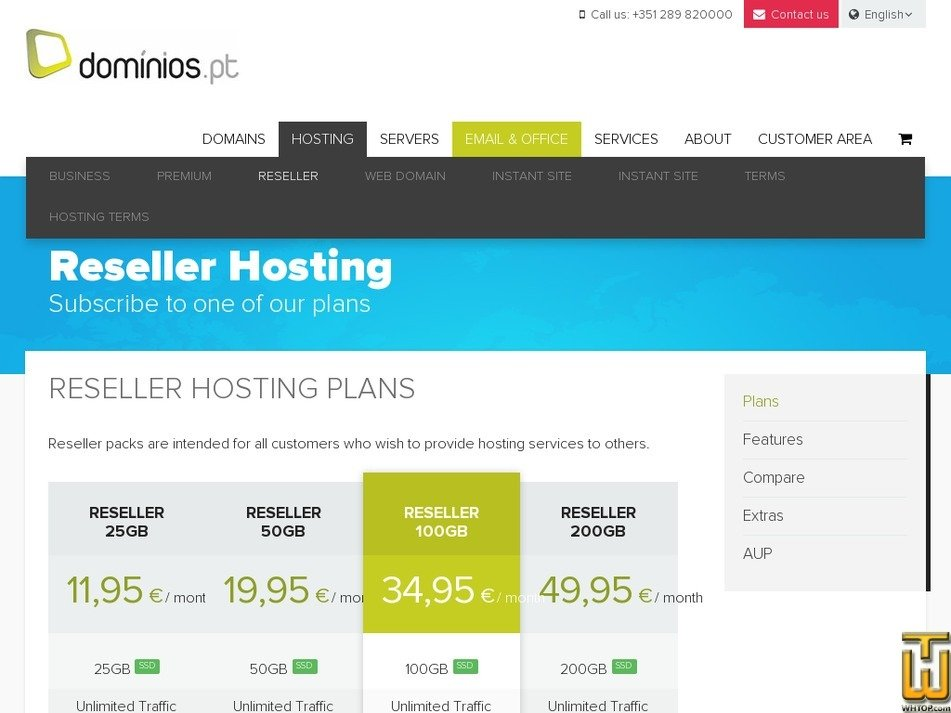 Screenshot of Reseller 25GB from dominios.pt