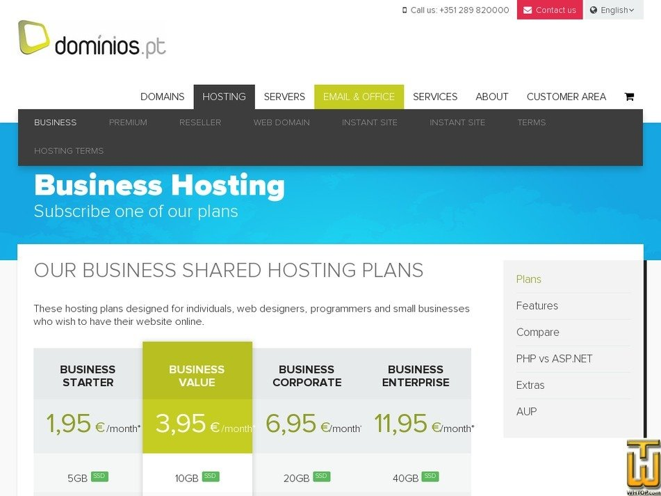Screenshot of Business Value from dominios.pt