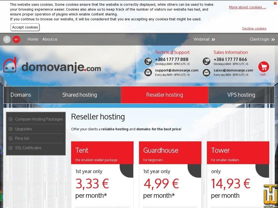 Screenshot of Tent from domovanje.com