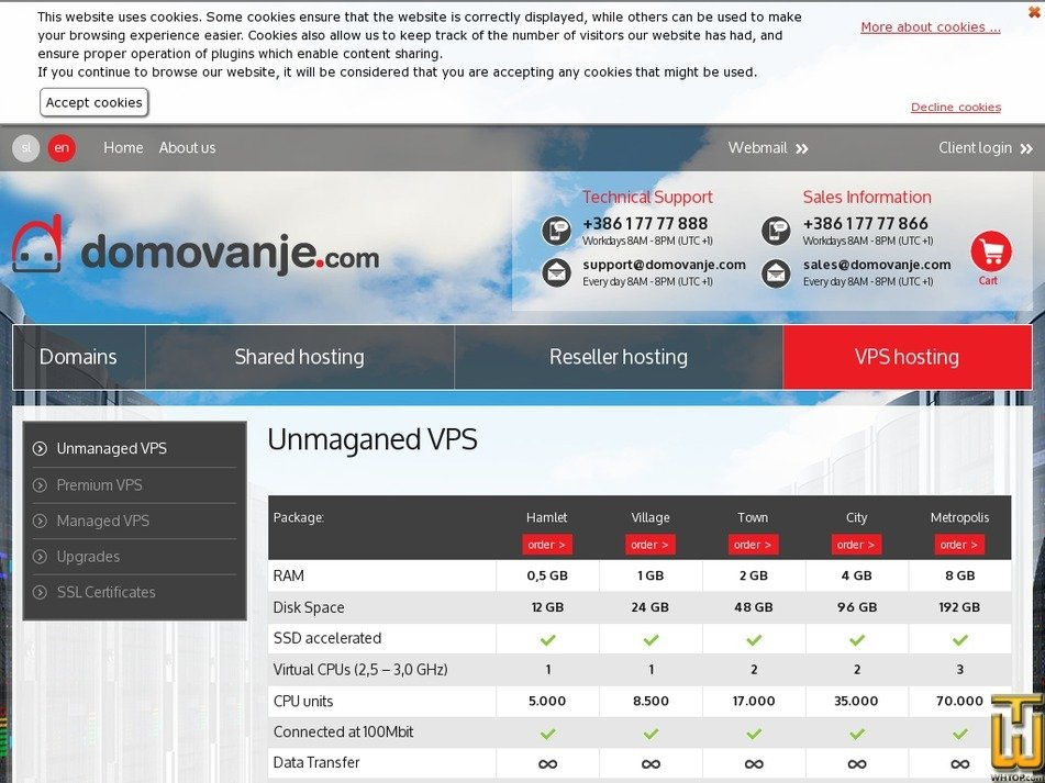 Screenshot of Unmanaged VPS City from domovanje.com