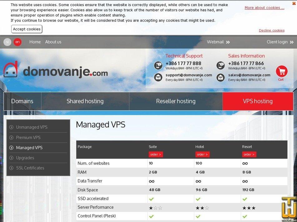 Screenshot of Managed VPS Hotel from domovanje.com