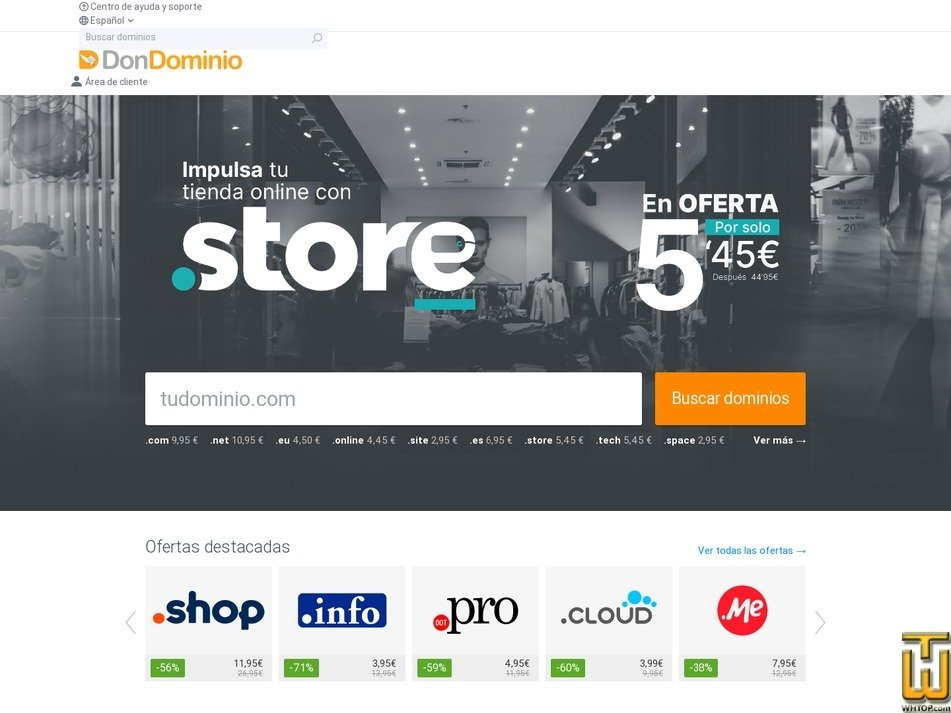 screenshot of .com from dondominio.com