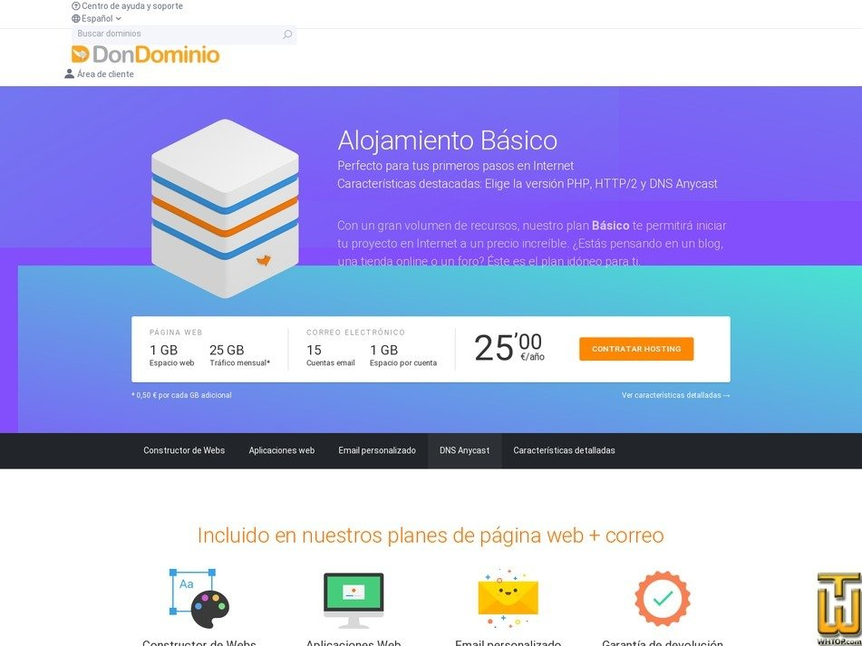 screenshot of Basic from dondominio.com